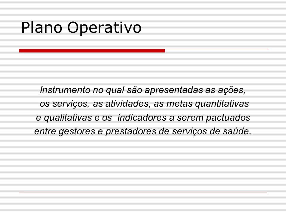 Plano Operativo Instrumento no qual são apresentadas as ações,