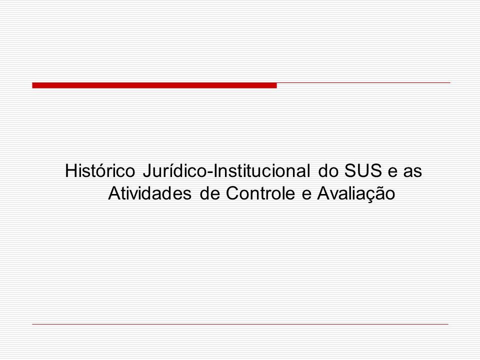 Histórico Jurídico-Institucional do SUS e as Atividades de Controle e Avaliação