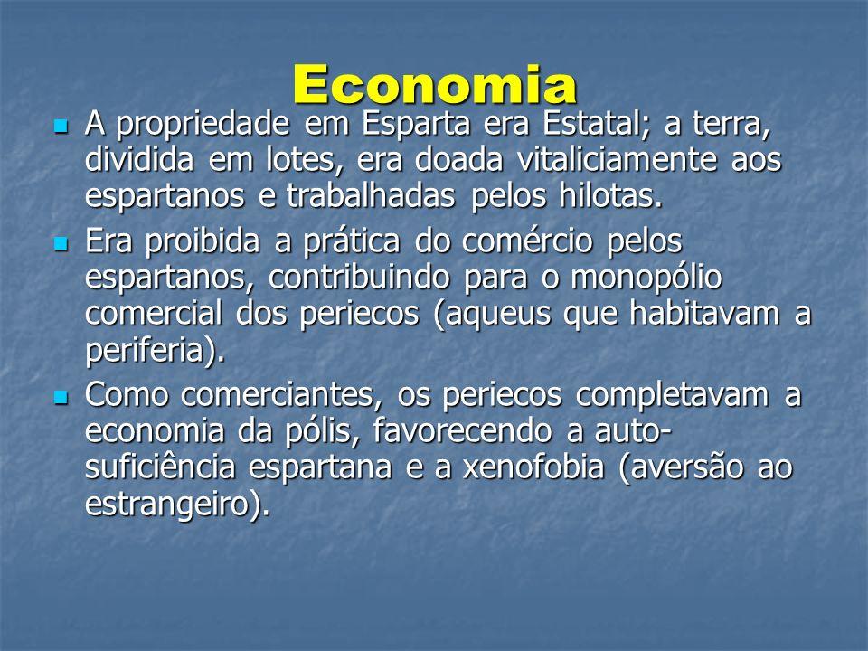 Economia A propriedade em Esparta era Estatal; a terra, dividida em lotes, era doada vitaliciamente aos espartanos e trabalhadas pelos hilotas.