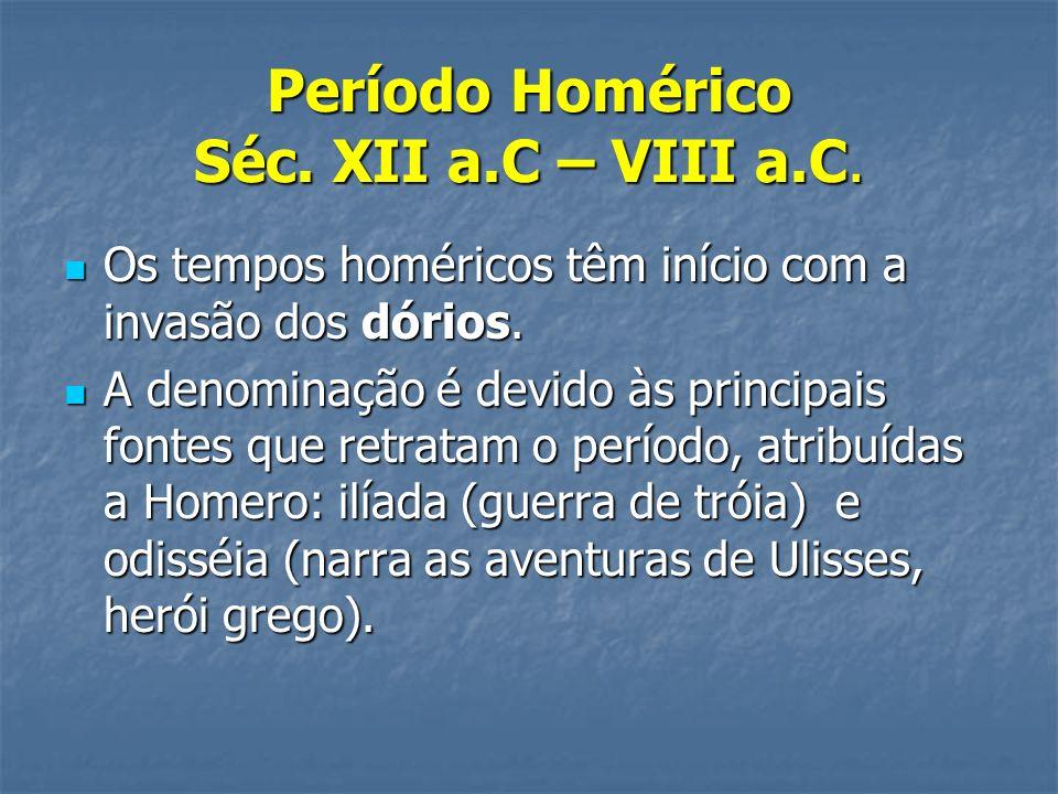 Período Homérico Séc. XII a.C – VIII a.C.