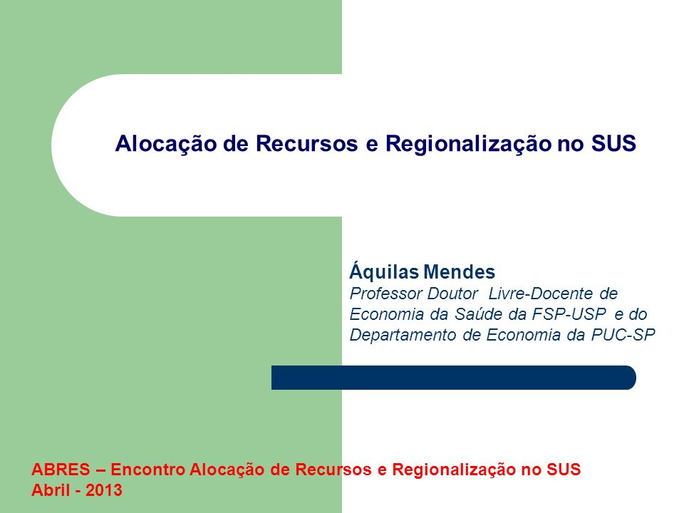 Alocação de Recursos e Regionalização no SUS