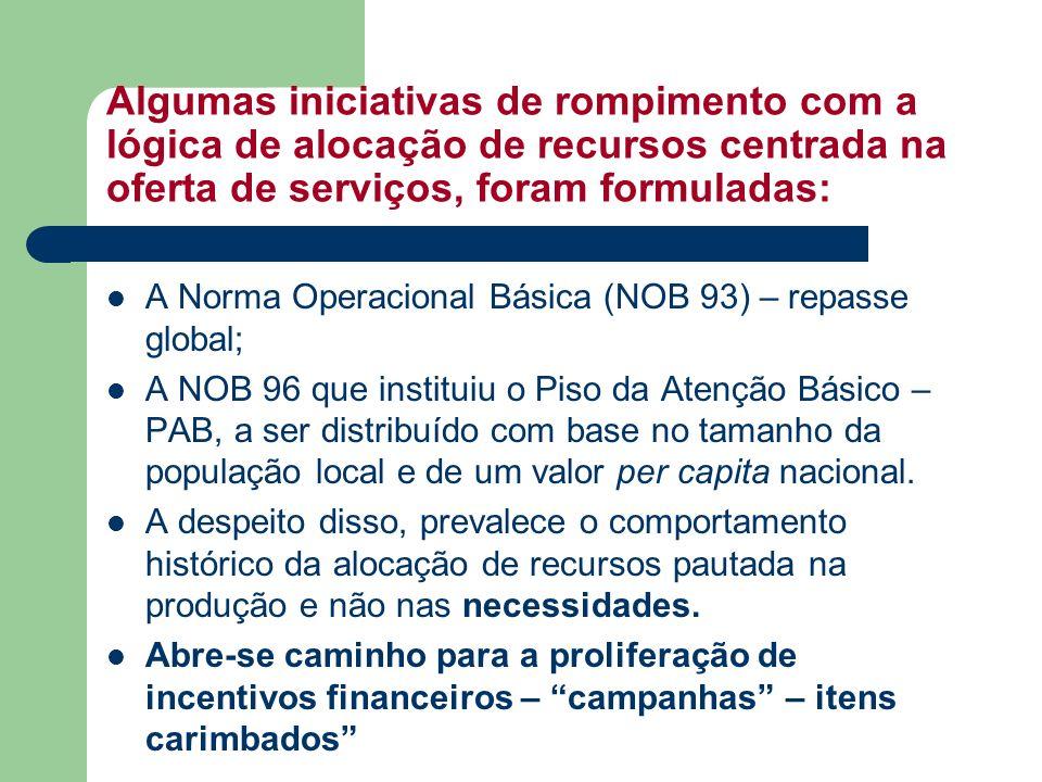 Algumas iniciativas de rompimento com a lógica de alocação de recursos centrada na oferta de serviços, foram formuladas: