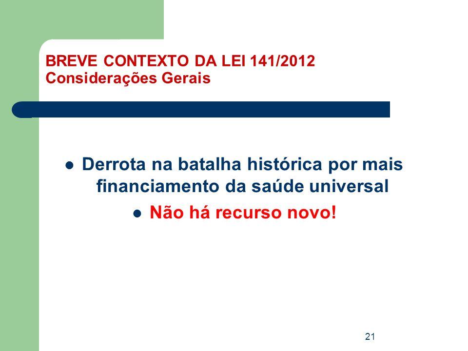 BREVE CONTEXTO DA LEI 141/2012 Considerações Gerais
