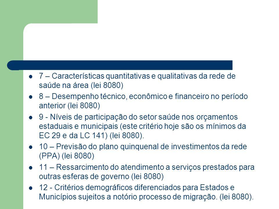 7 – Características quantitativas e qualitativas da rede de saúde na área (lei 8080)