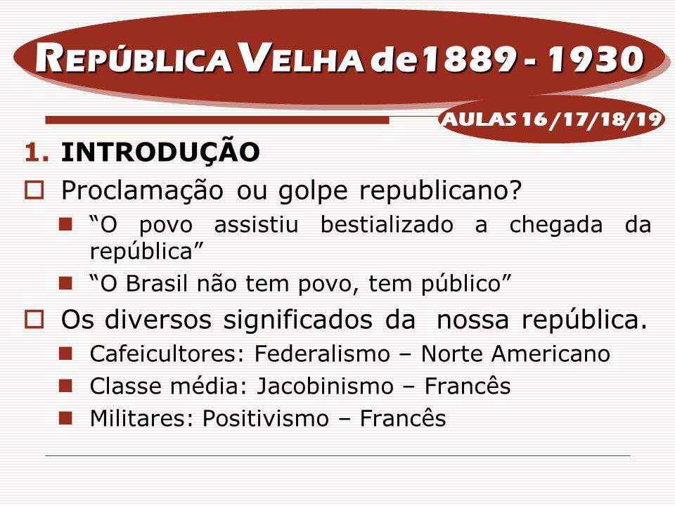 REPÚBLICA VELHA de1889 - 1930 INTRODUÇÃO