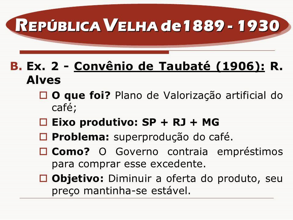 REPÚBLICA VELHA de1889 - 1930 Ex. 2 - Convênio de Taubaté (1906): R. Alves. O que foi Plano de Valorização artificial do café;