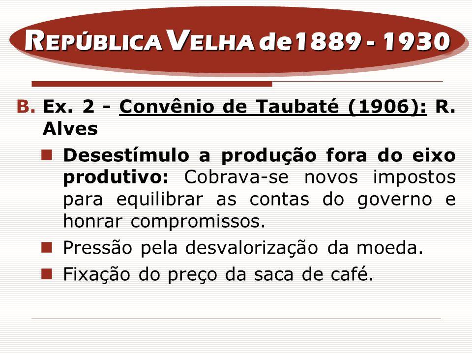 REPÚBLICA VELHA de1889 - 1930 Ex. 2 - Convênio de Taubaté (1906): R. Alves.