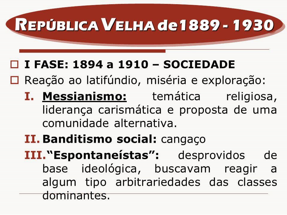 REPÚBLICA VELHA de1889 - 1930I FASE: 1894 a 1910 – SOCIEDADE. Reação ao latifúndio, miséria e exploração: