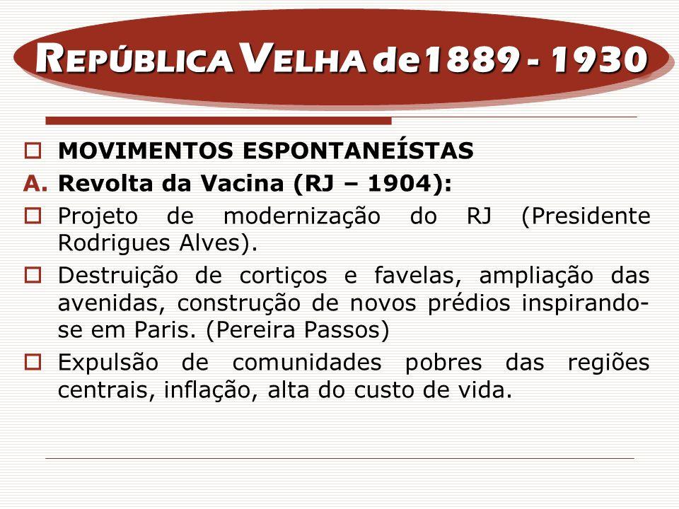 REPÚBLICA VELHA de1889 - 1930 MOVIMENTOS ESPONTANEÍSTAS