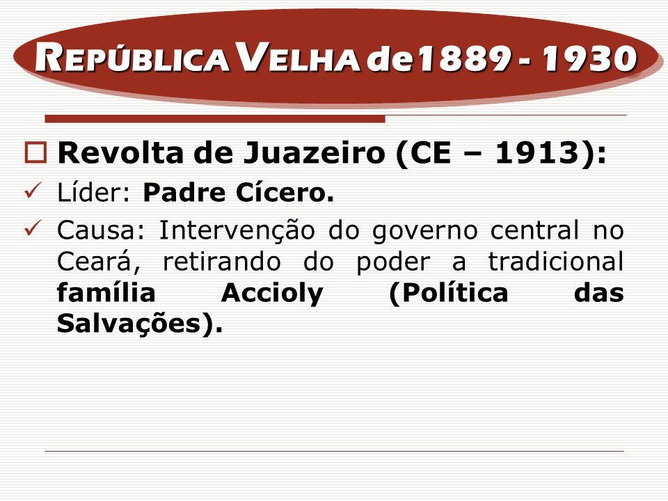 REPÚBLICA VELHA de1889 - 1930 Revolta de Juazeiro (CE – 1913):