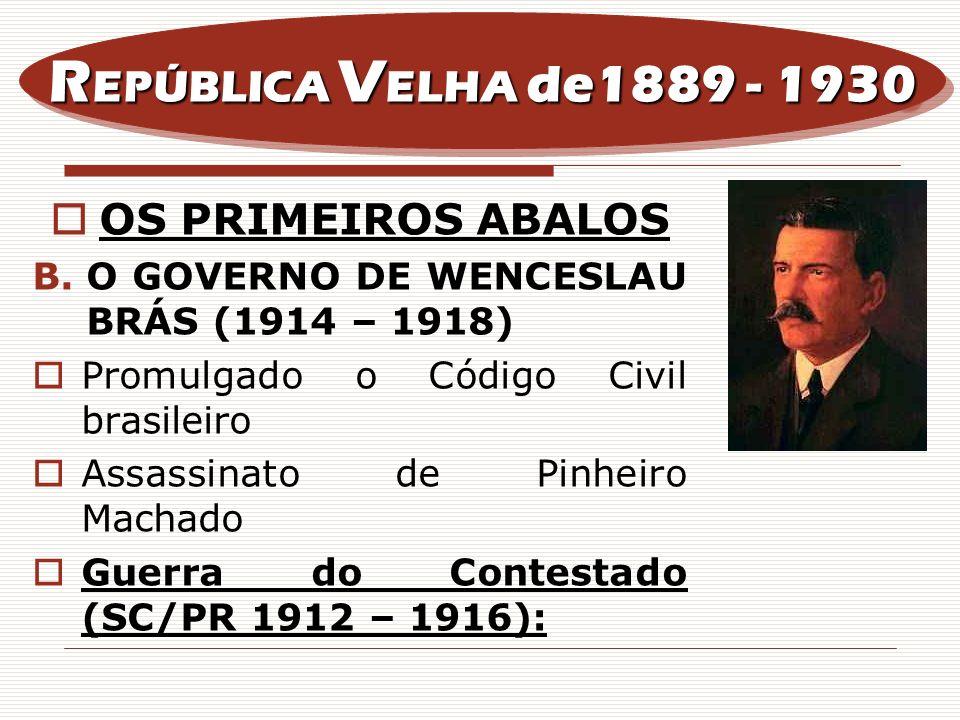 REPÚBLICA VELHA de1889 - 1930 OS PRIMEIROS ABALOS