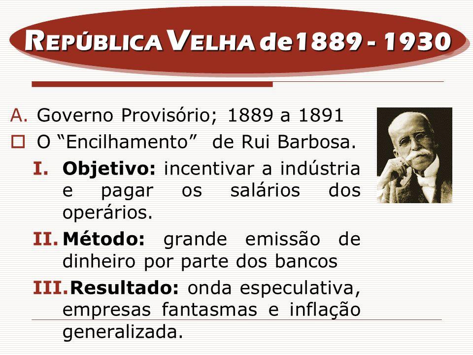 REPÚBLICA VELHA de1889 - 1930 Governo Provisório; 1889 a 1891