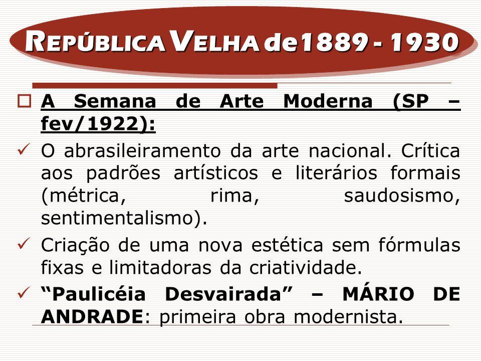 REPÚBLICA VELHA de1889 - 1930A Semana de Arte Moderna (SP – fev/1922):
