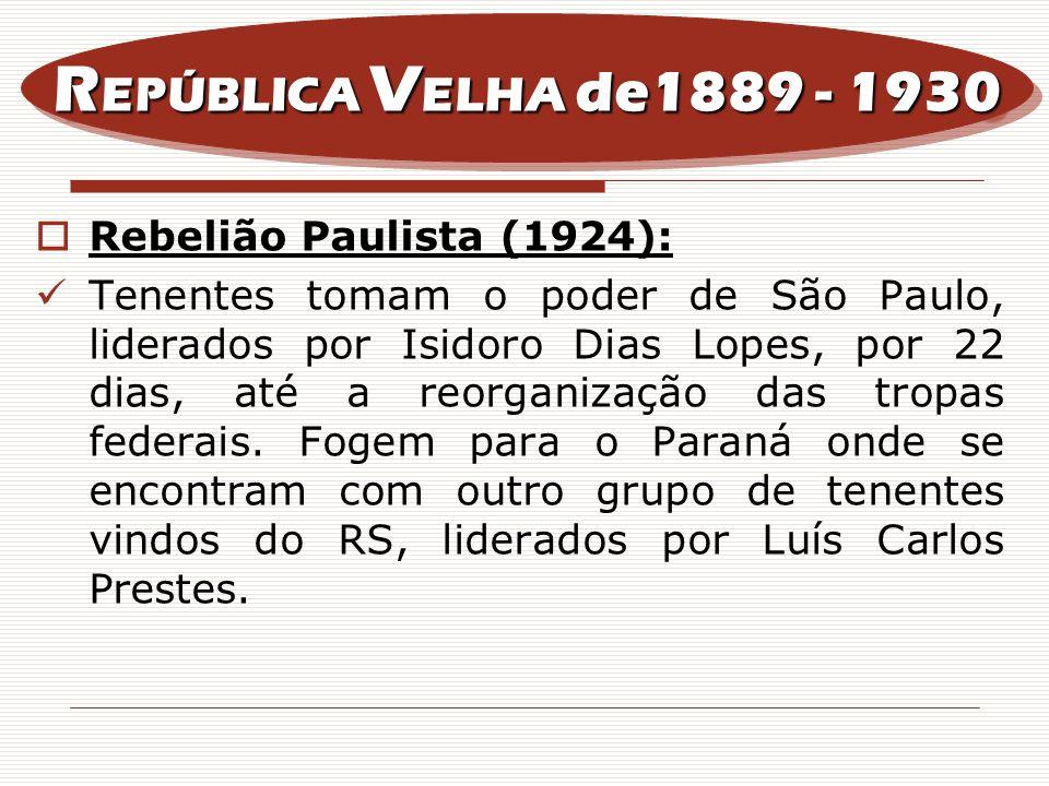 REPÚBLICA VELHA de1889 - 1930 Rebelião Paulista (1924):