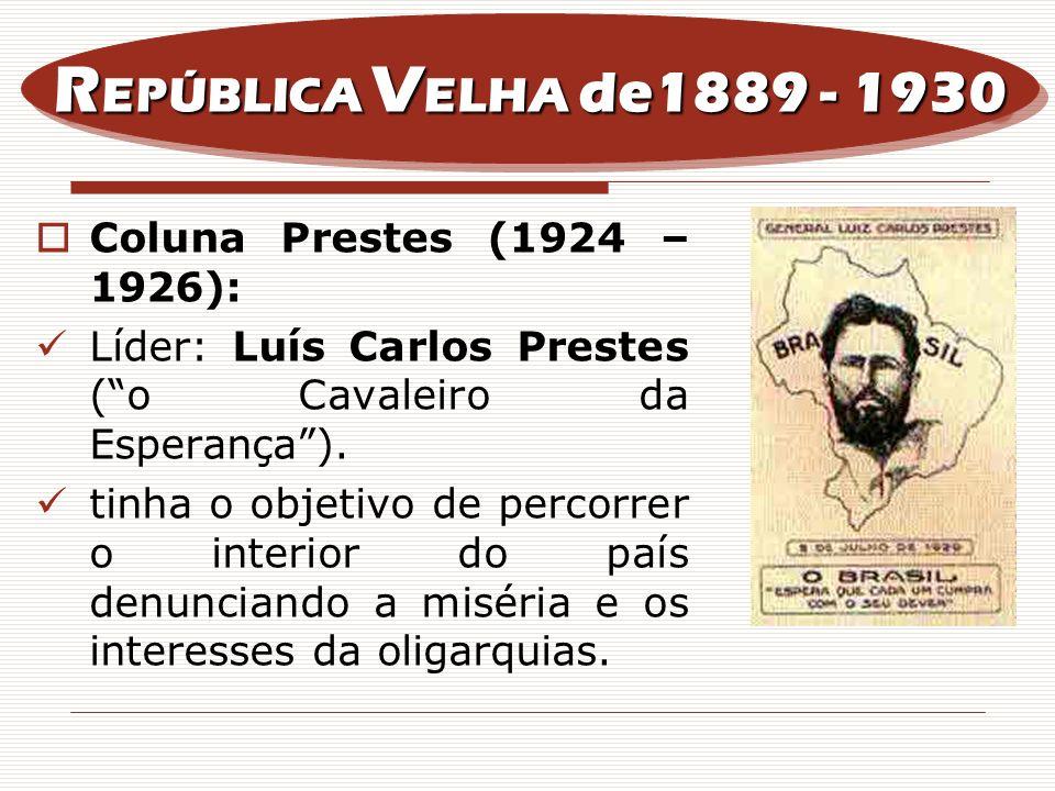 REPÚBLICA VELHA de1889 - 1930 Coluna Prestes (1924 – 1926):