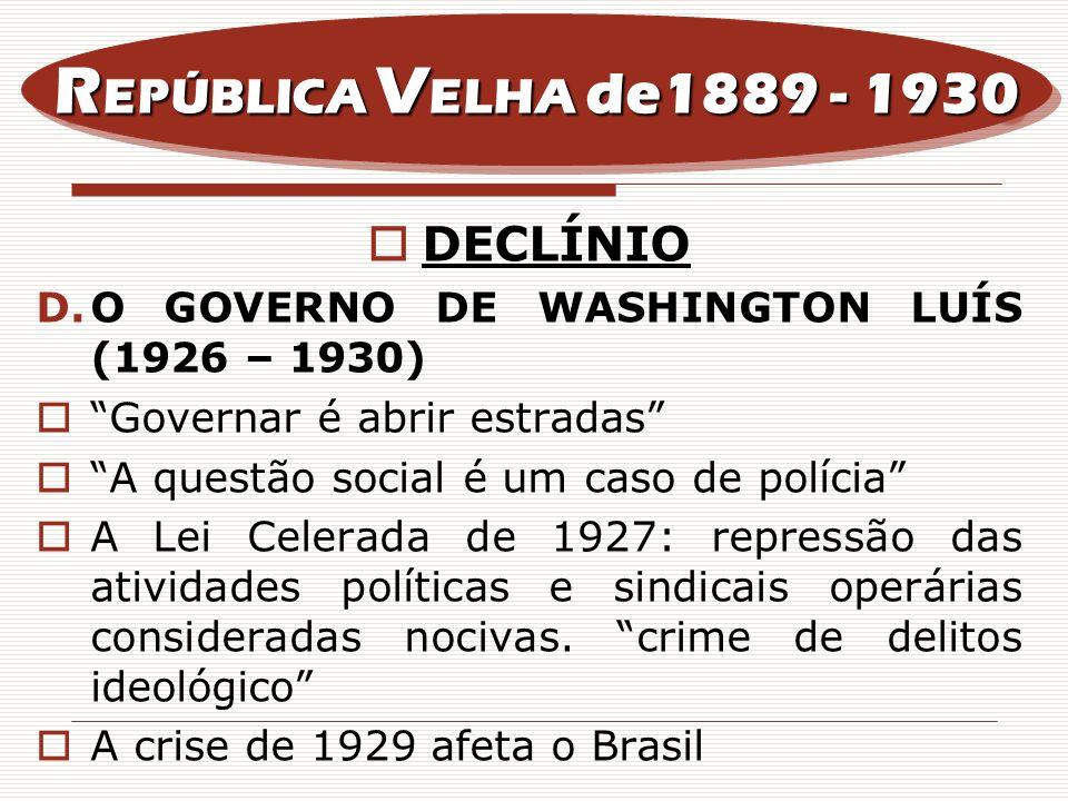 REPÚBLICA VELHA de1889 - 1930 DECLÍNIO