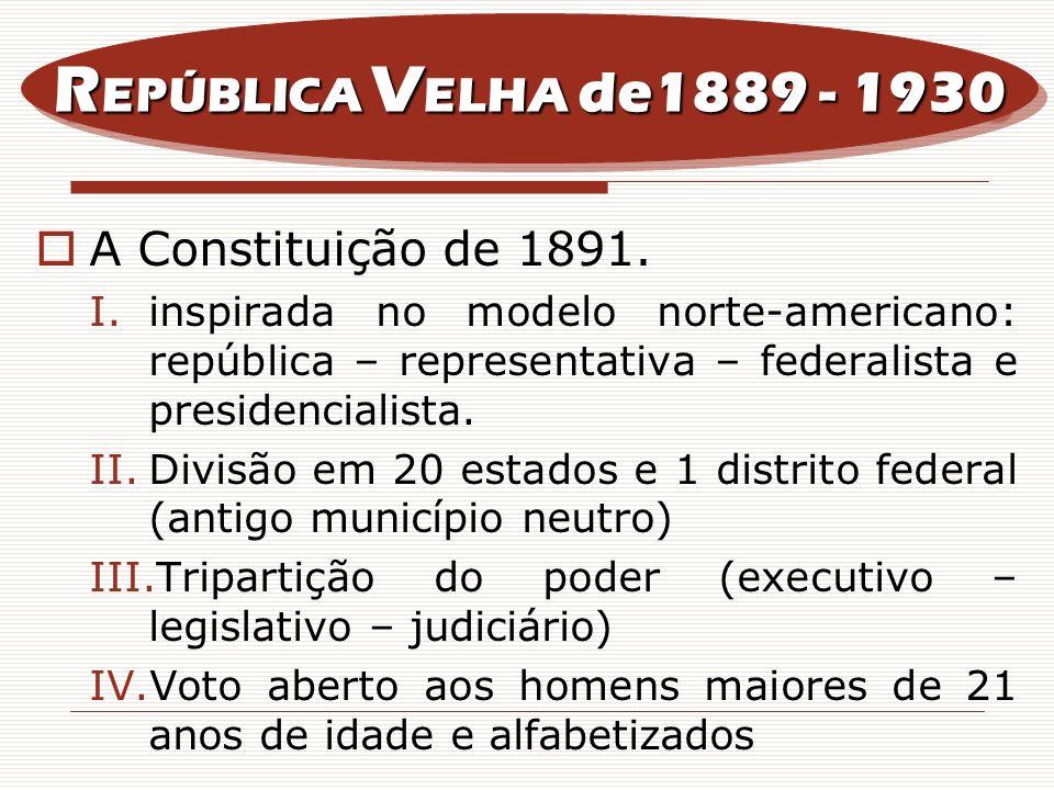 REPÚBLICA VELHA de1889 - 1930 A Constituição de 1891.
