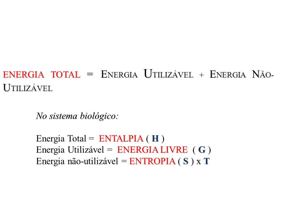 ENERGIA TOTAL = ENERGIA UTILIZÁVEL + ENERGIA NÃO-UTILIZÁVEL