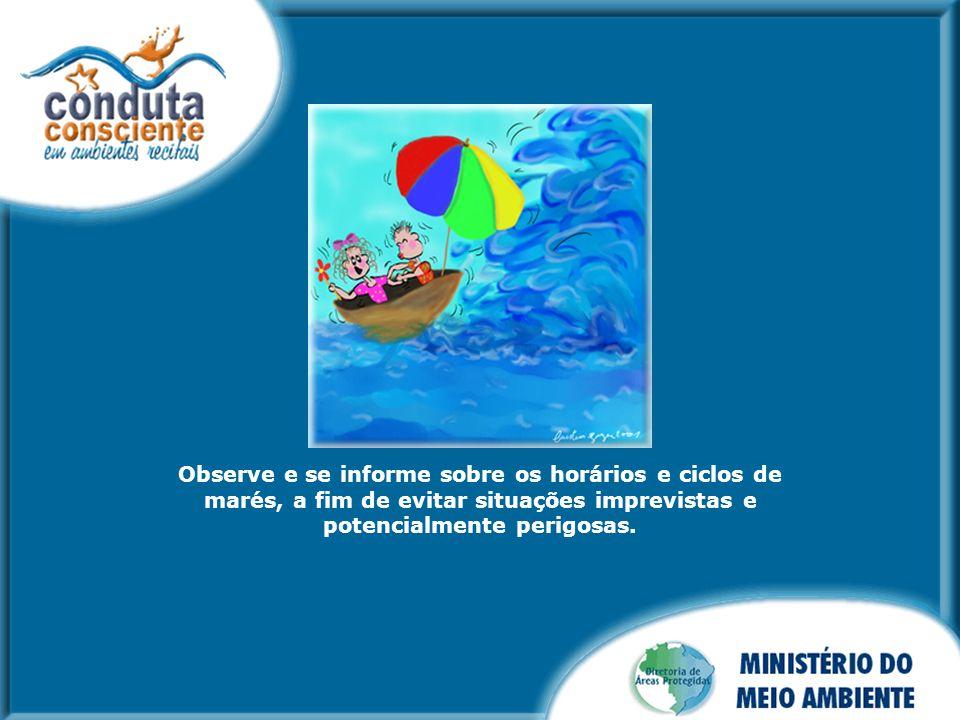 Observe e se informe sobre os horários e ciclos de marés, a fim de evitar situações imprevistas e potencialmente perigosas.