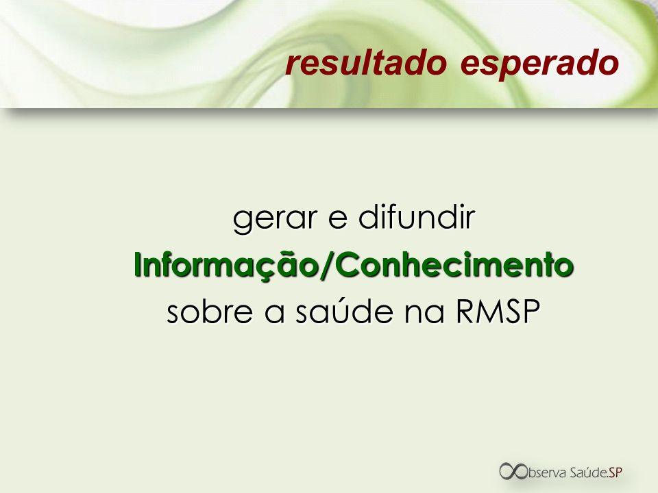 gerar e difundir Informação/Conhecimento sobre a saúde na RMSP