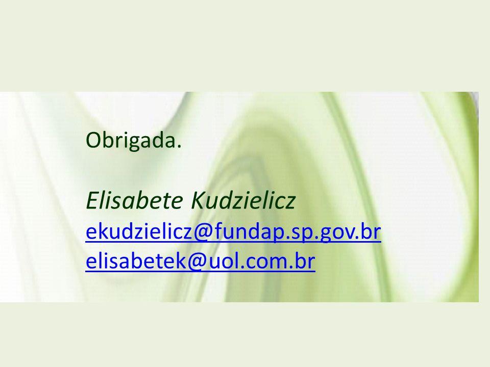 Elisabete Kudzielicz Obrigada. ekudzielicz@fundap.sp.gov.br