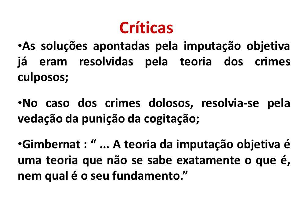 Críticas As soluções apontadas pela imputação objetiva já eram resolvidas pela teoria dos crimes culposos;