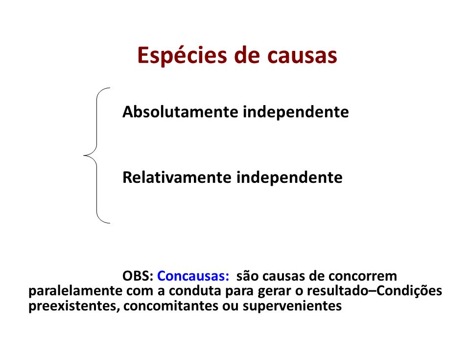 Espécies de causas Relativamente independente