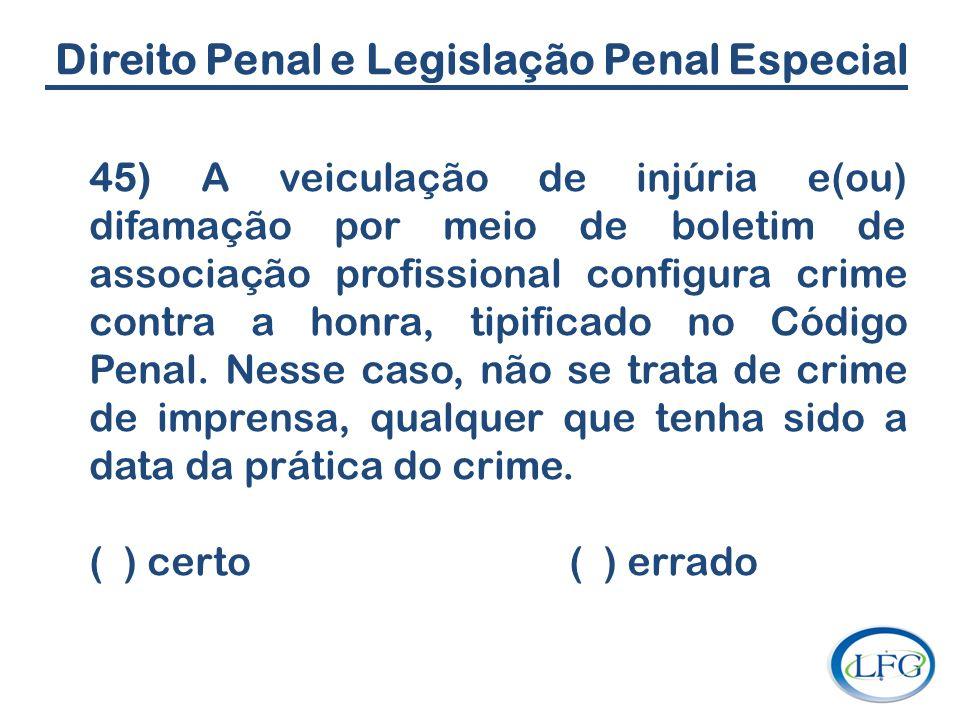 Direito Penal e Legislação Penal Especial