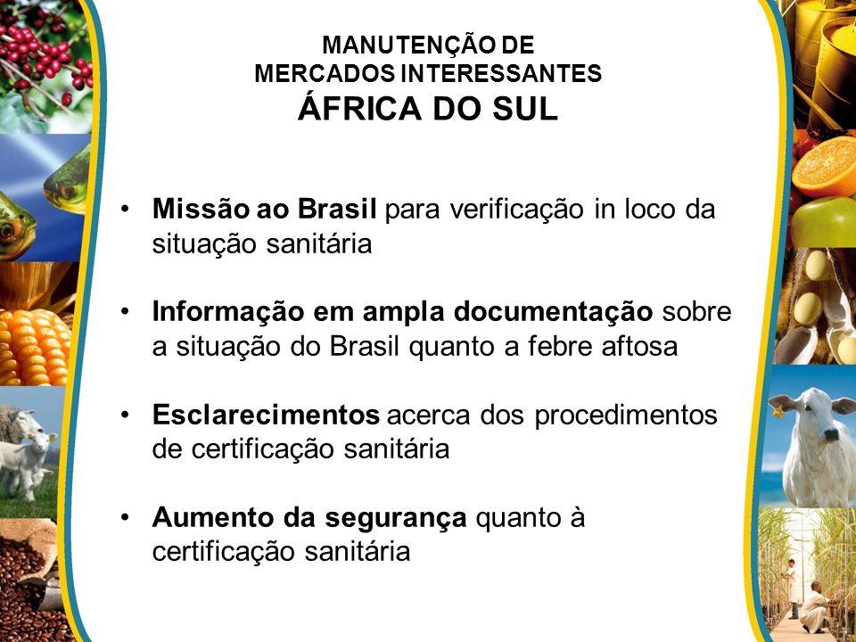 MANUTENÇÃO DE MERCADOS INTERESSANTES ÁFRICA DO SUL