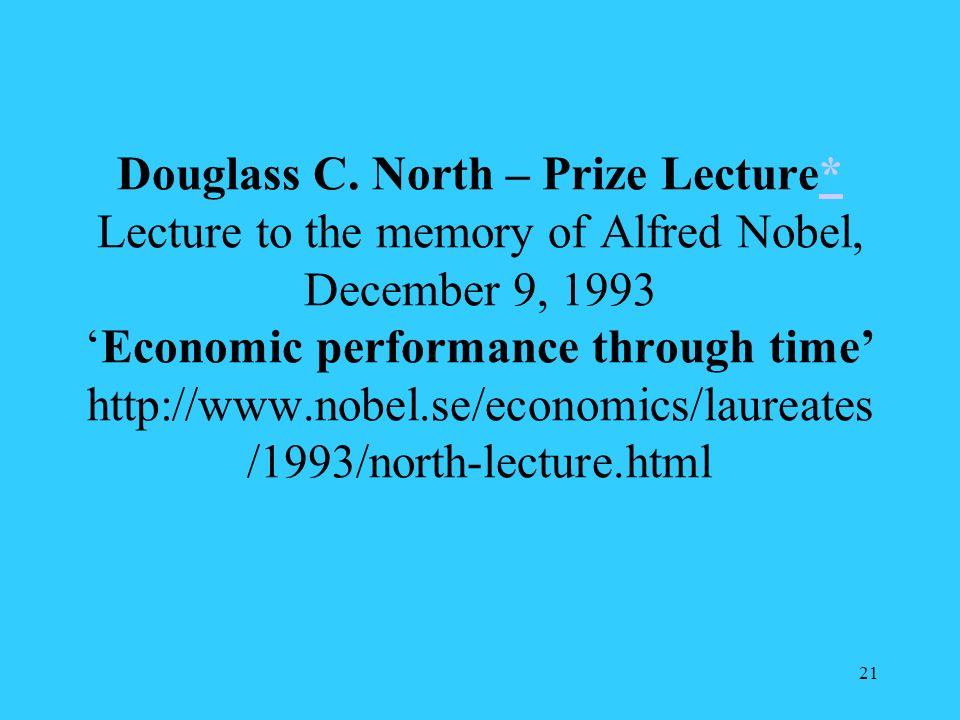Douglass C. North – Prize Lecture