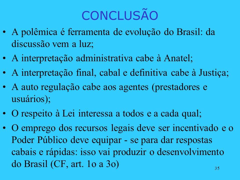 CONCLUSÃO A polêmica é ferramenta de evolução do Brasil: da discussão vem a luz; A interpretação administrativa cabe à Anatel;