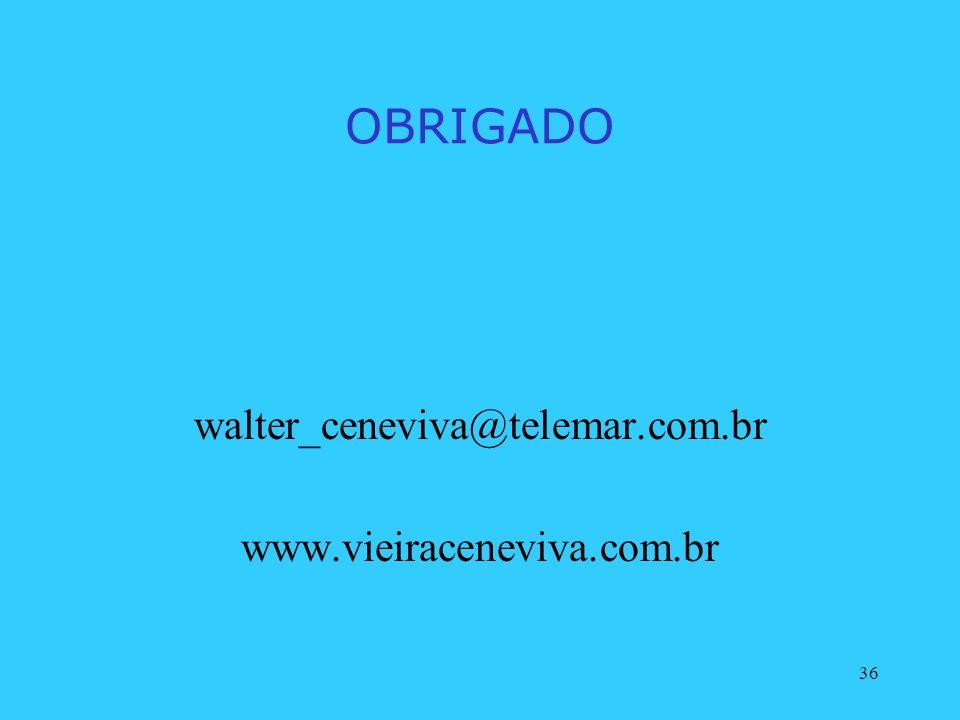 OBRIGADO walter_ceneviva@telemar.com.br www.vieiraceneviva.com.br