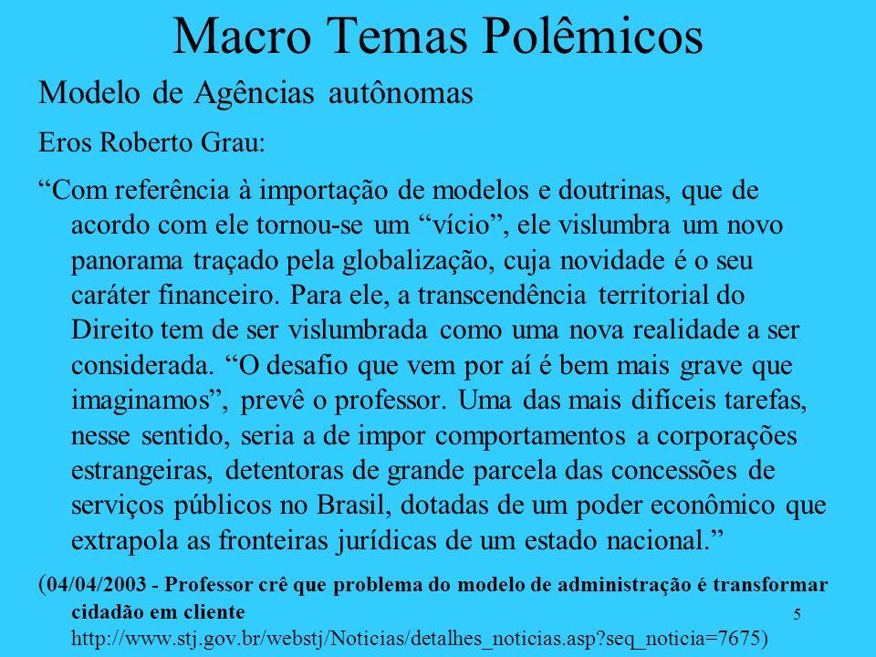 Macro Temas Polêmicos Modelo de Agências autônomas Eros Roberto Grau: