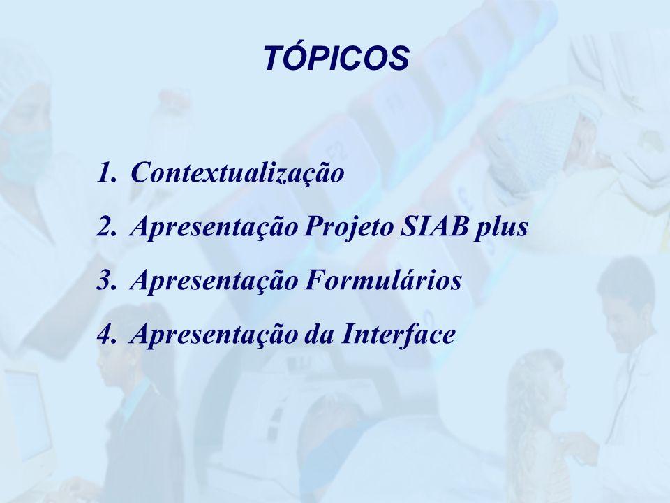 TÓPICOS Contextualização Apresentação Projeto SIAB plus