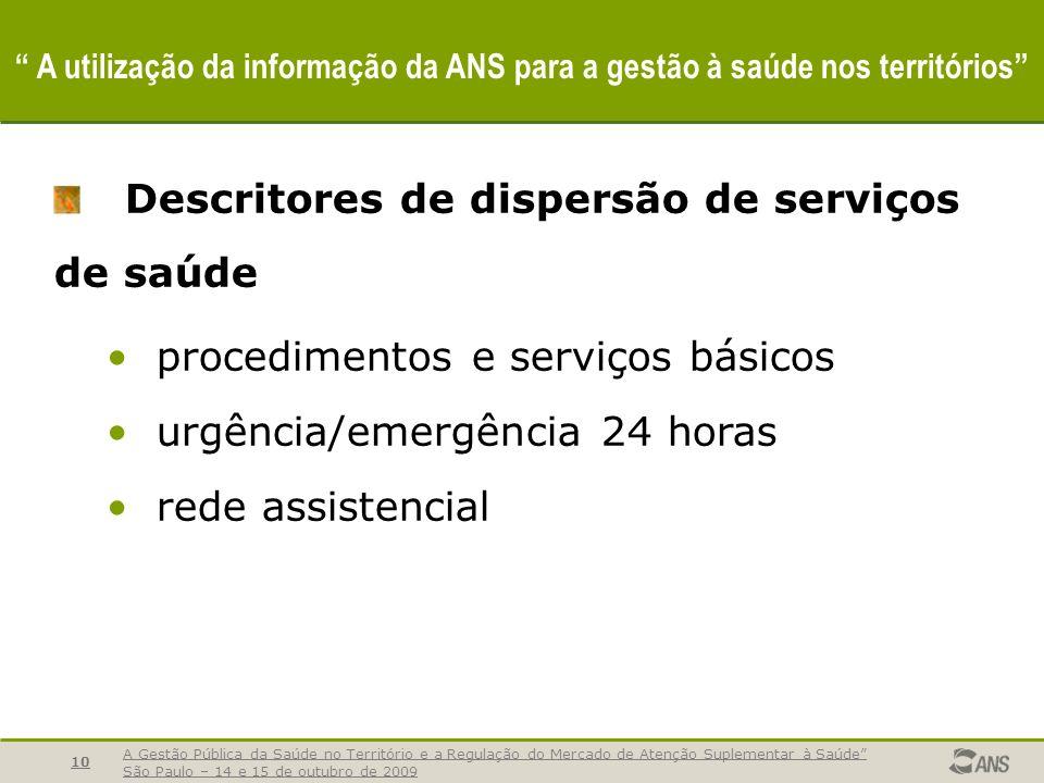 Descritores de dispersão de serviços de saúde
