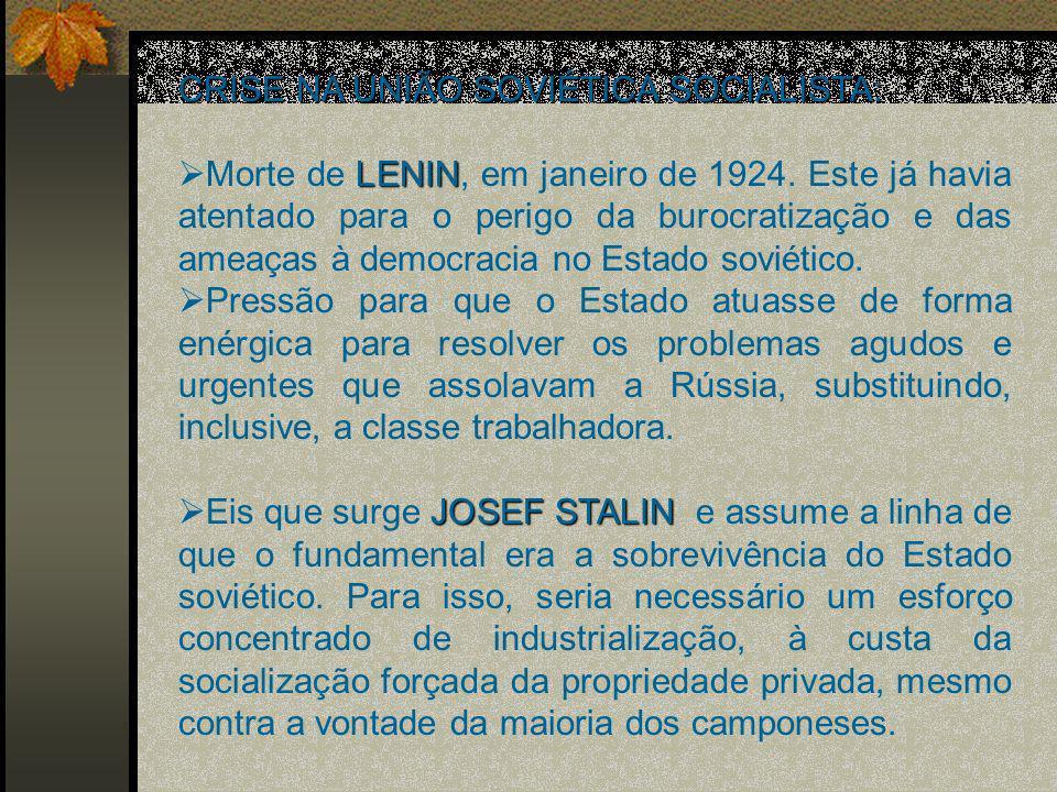 CRISE NA UNIÃO SOVIÉTICA SOCIALISTA: