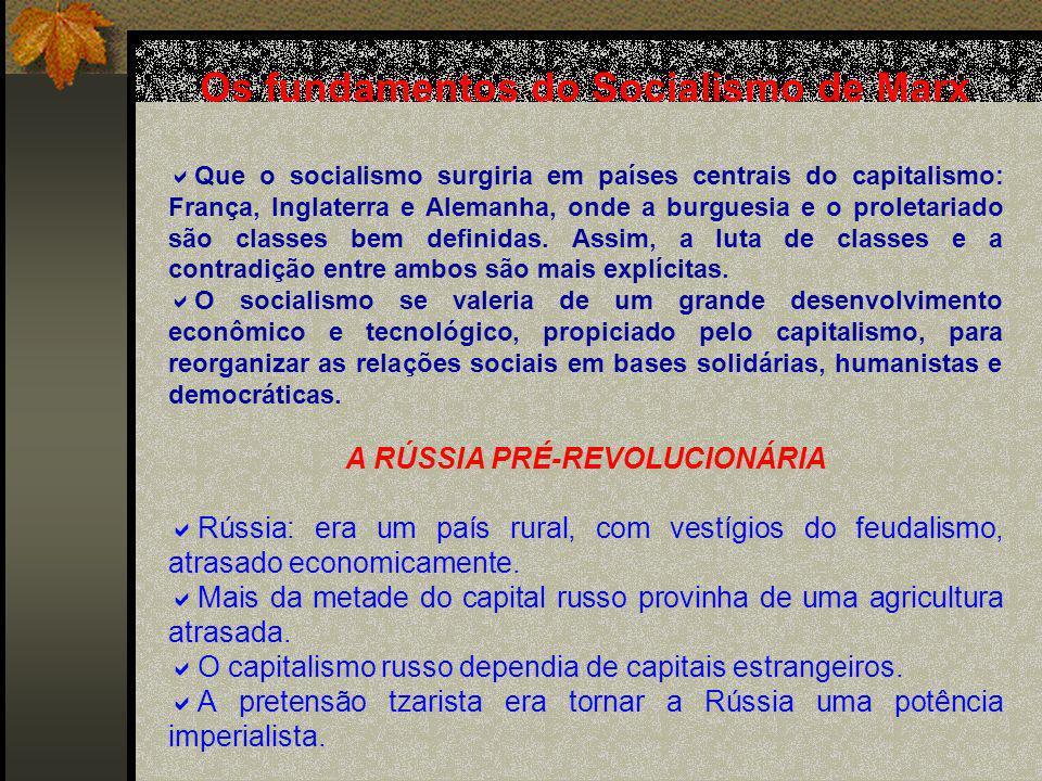 Os fundamentos do Socialismo de Marx A RÚSSIA PRÉ-REVOLUCIONÁRIA