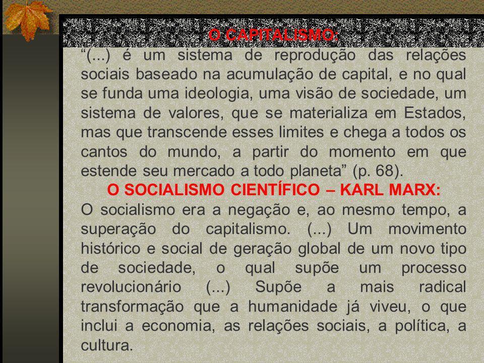 O SOCIALISMO CIENTÍFICO – KARL MARX: