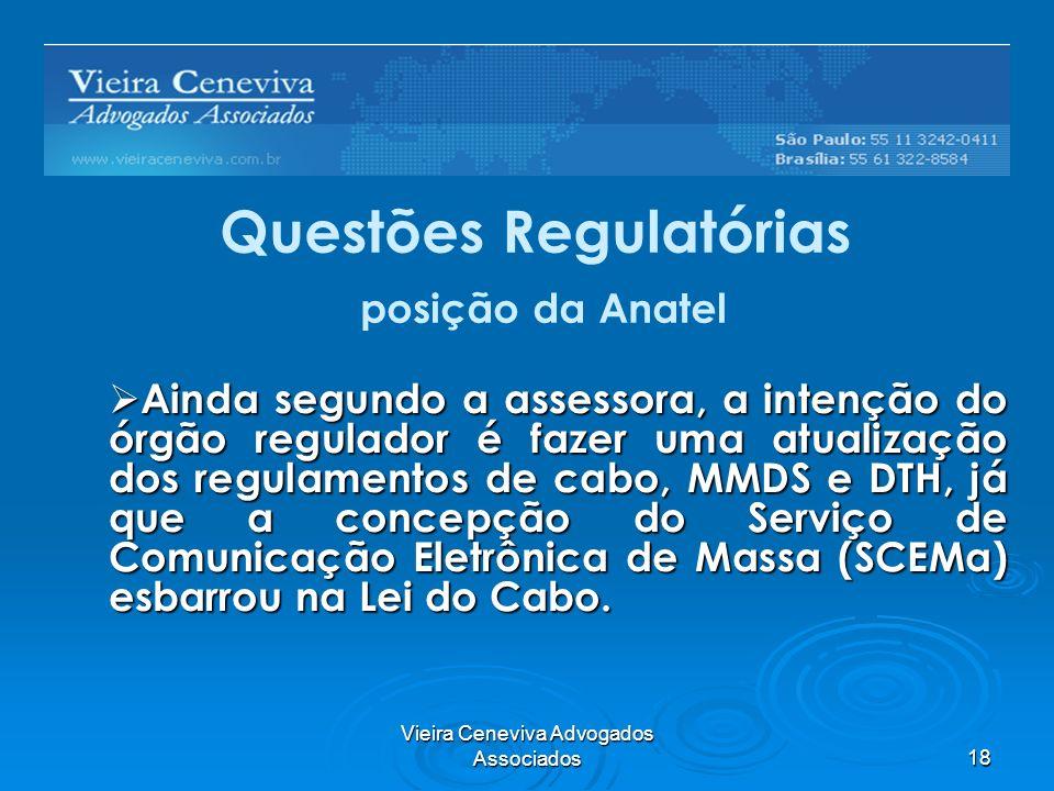 Questões Regulatórias posição da Anatel