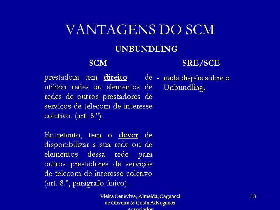 VANTAGENS DO SCM Vieira Ceneviva, Almeida, Cagnacci de Oliveira & Costa Advogados Associados