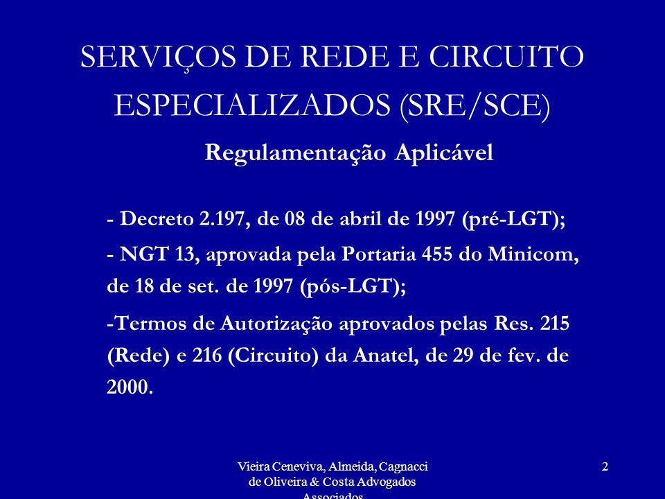 SERVIÇOS DE REDE E CIRCUITO ESPECIALIZADOS (SRE/SCE)