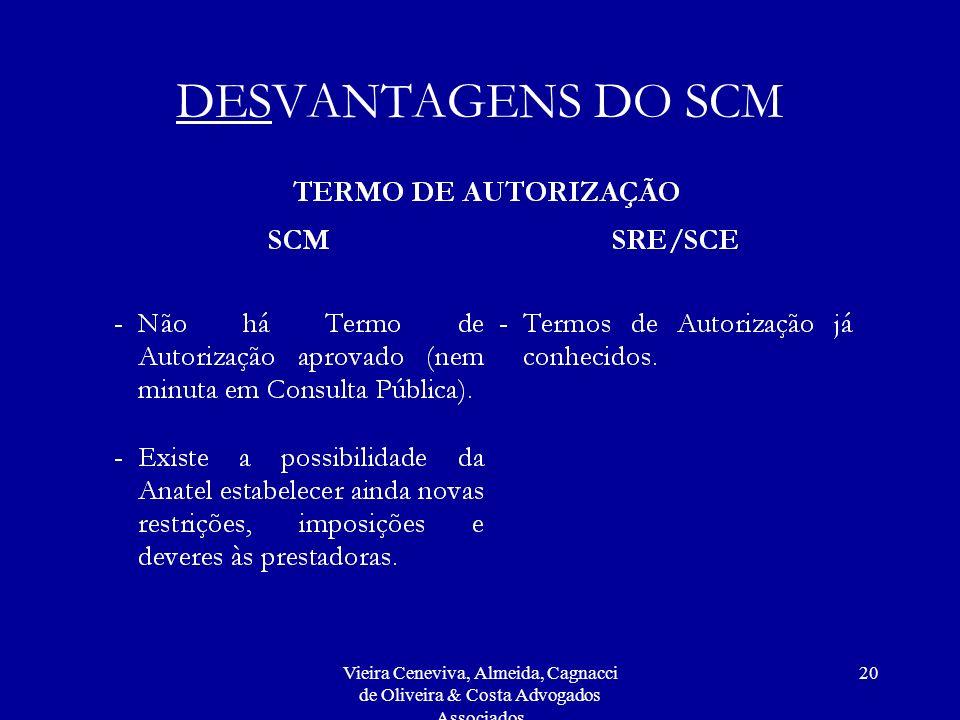 DESVANTAGENS DO SCM Vieira Ceneviva, Almeida, Cagnacci de Oliveira & Costa Advogados Associados