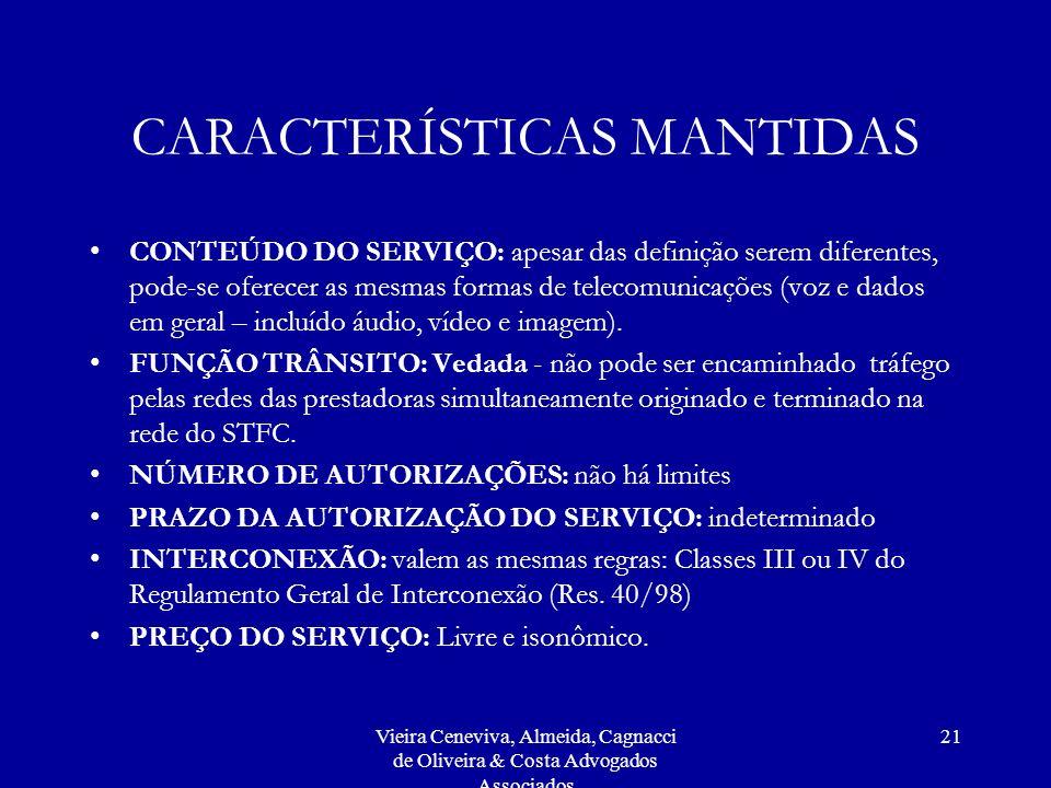 CARACTERÍSTICAS MANTIDAS