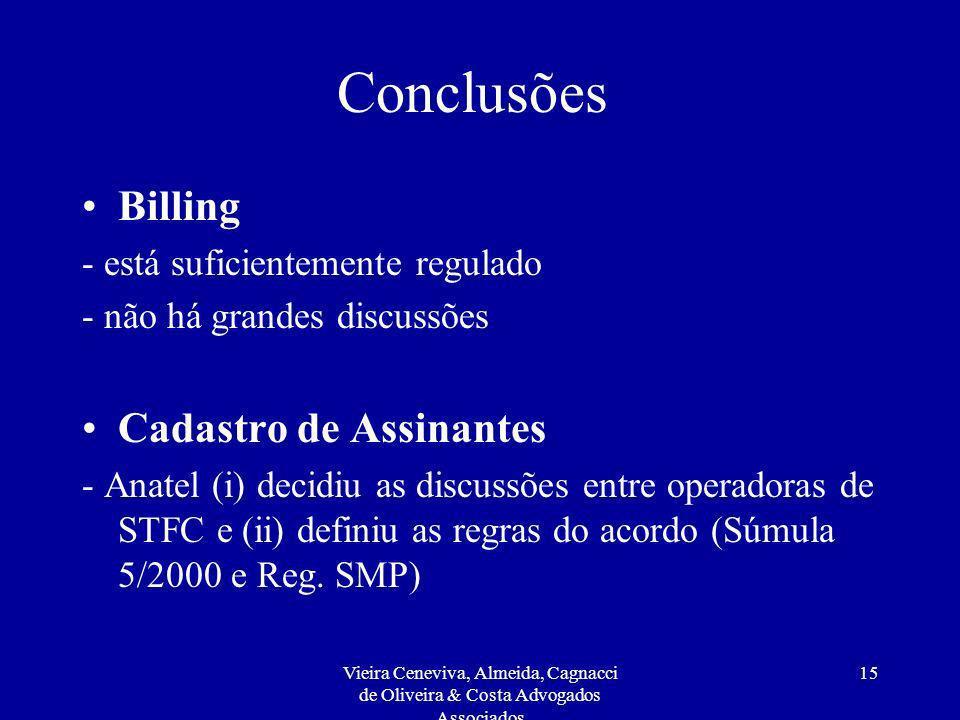 Conclusões Billing Cadastro de Assinantes