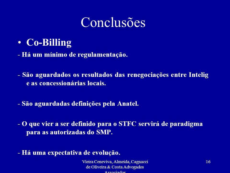 Conclusões Co-Billing - Há um mínimo de regulamentação.