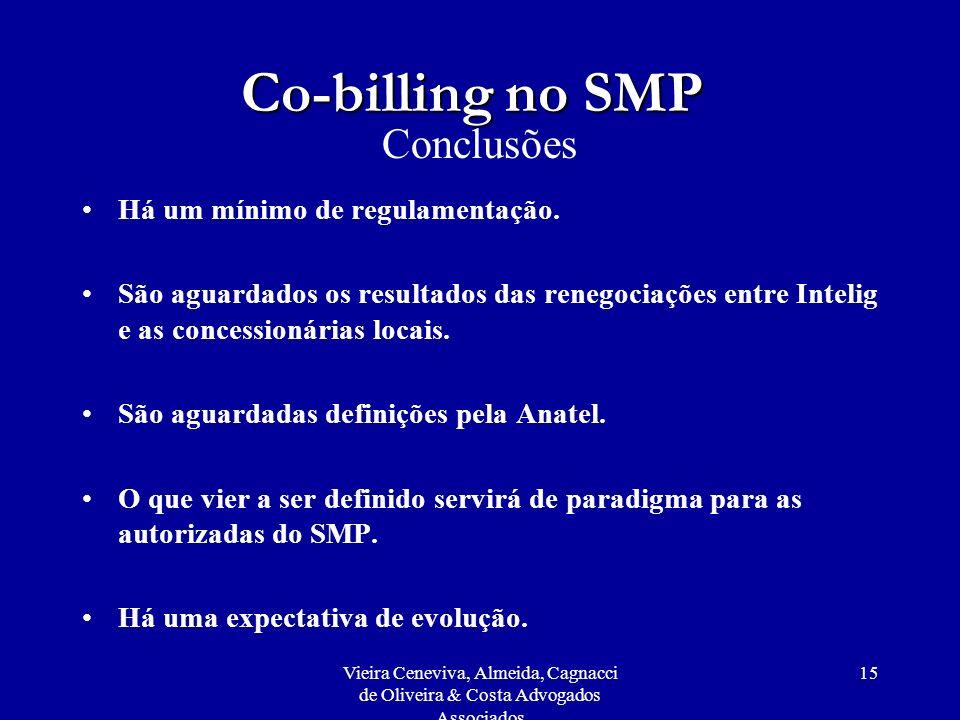 Co-billing no SMP Conclusões Há um mínimo de regulamentação.