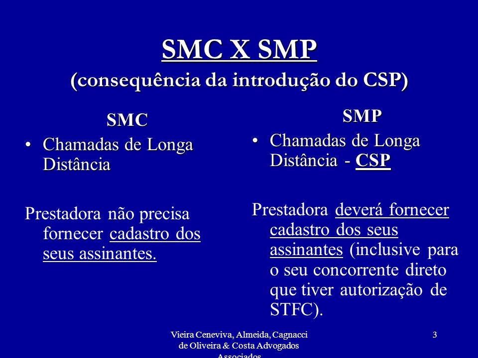 SMC X SMP (consequência da introdução do CSP)