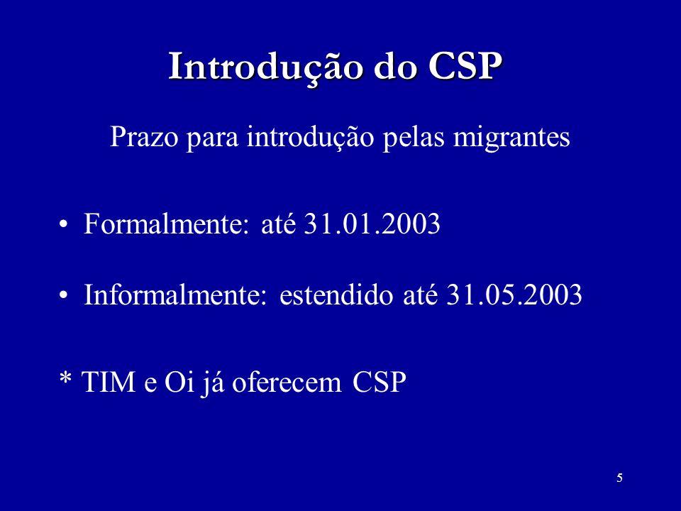 Prazo para introdução pelas migrantes