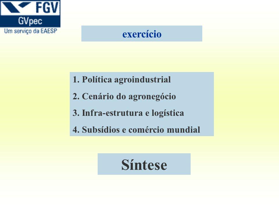 Síntese exercício 1. Política agroindustrial 2. Cenário do agronegócio