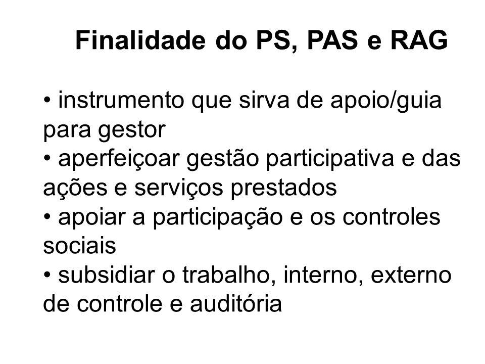 Finalidade do PS, PAS e RAG
